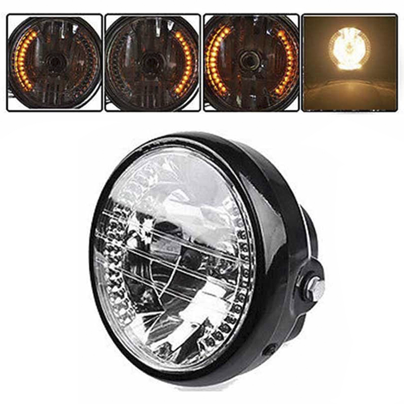 7 Universal LED Motorcycle Headlights H4 Round Headlights Assembly Yellow 35W with Black Bracket