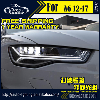 AKD Car Styling Head Lamp for Audi A6 LED Headlight 2012-2017 A6L C7 Headlights LED DRL light house projector Lens Bi Xenon Beam