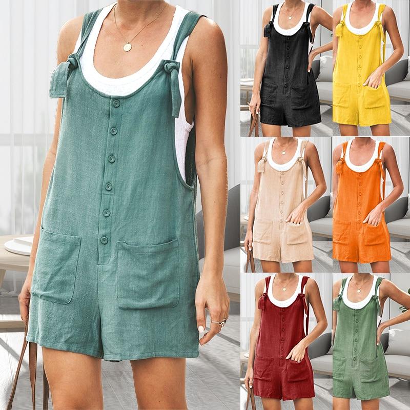 Women Jumsuit Cotton Linen Rompers Solid Button Pocket Summer Short Jumpsuit Casual Loose Straps Playsuit Overalls Short Pants