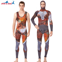 3mm Neoprene Wetsuit 3D Printed Unisex 2 piece hooded Swimwear Spear fishing Diving Full Body Suit Snorkeling Swimming Jumpsuit