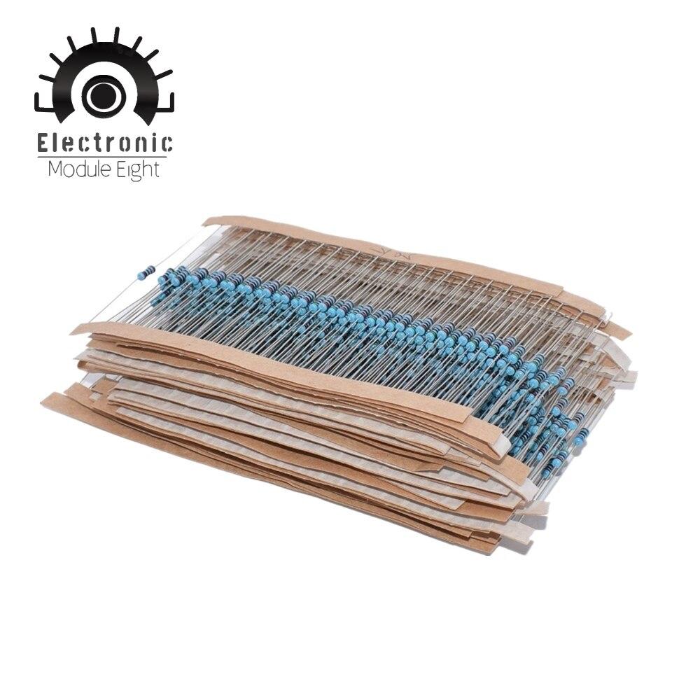 300 600 шт./компл. 1/4 Вт Сопротивление 1% 30 видов ассортимент металлопленочных резисторов 100R 1K 47K 10K 100K 4K7