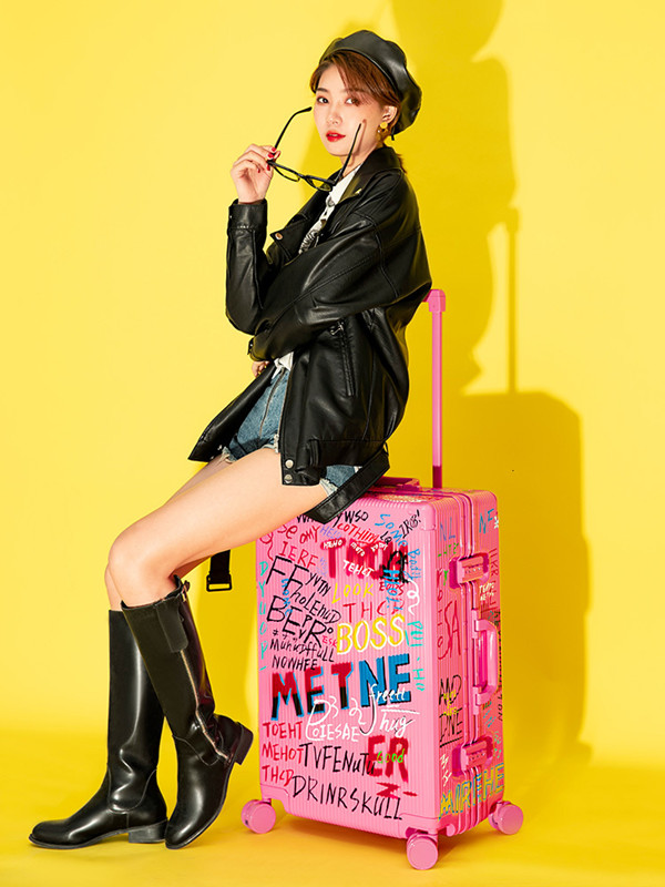 Graffiti Aluminum Frame Small Suitcase Boarding Trolley Case Travel Password Luggage Bag Valise Voyageur Silent Vientiane Wheel