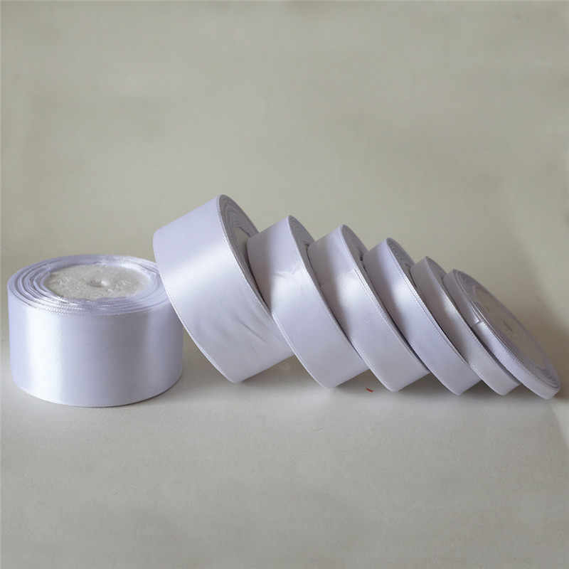 25 yardas/6mm-50mm de satén blanco cinta de material para manualidades para el baile de graduación fiesta decoración de la boda caja de regalo de embalaje de accesorios D7