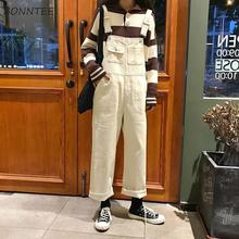 Jumpsuits Women Overall Loose Solid Simple Pockets Korean Style Chic Streetwear