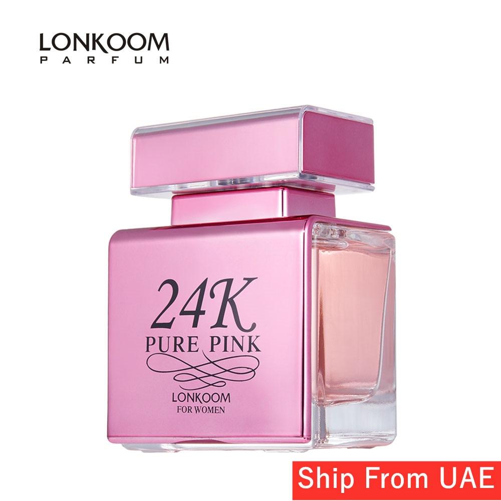 LONKOOM 2020 Perfume For Women 24K PURE PINK Eau De Parfum Floral-Fruity EDP Spray For Women 100ml Fragrance Free Shippping