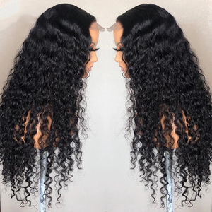 Image 3 - Brazilian Deep Wave Closure Wigs Pre plucked Lace Closure Human Hair Wigs For Black Women 150% Remy Deep Wave Lace Frontal Wigs