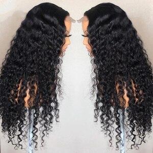 Image 3 - Perruques brésiliennes de fermeture de vague profonde perruques de cheveux humains de fermeture de dentelle pré plumées pour les femmes noires 150% perruques frontales de dentelle de vague profonde de Remy
