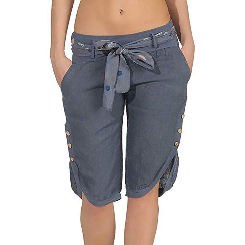 2020 Women Summer Solid Women Pants Loose Knee Length Trousers Female Soft Elastic Waist Capris Women Lace-up Pants