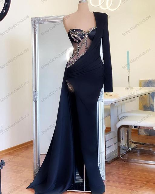 Real Image Sexy One Shoulder Navy Blue Mermaid Evening Dresses Long Sleeves Crystals Pageant Dress High Slit Simple Prom Gowns 3