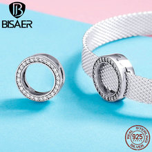 BISAER New Fashion 925 Sterling Silver Circle Shape CZ Pendant For Bracelet Bangle&Necklace Making Jewelry Gift For Women HSX101 bisaer 100%real 925 sterling silver rose gold color heart apple sakura shape pendant necklace for women fashion gift hsn313