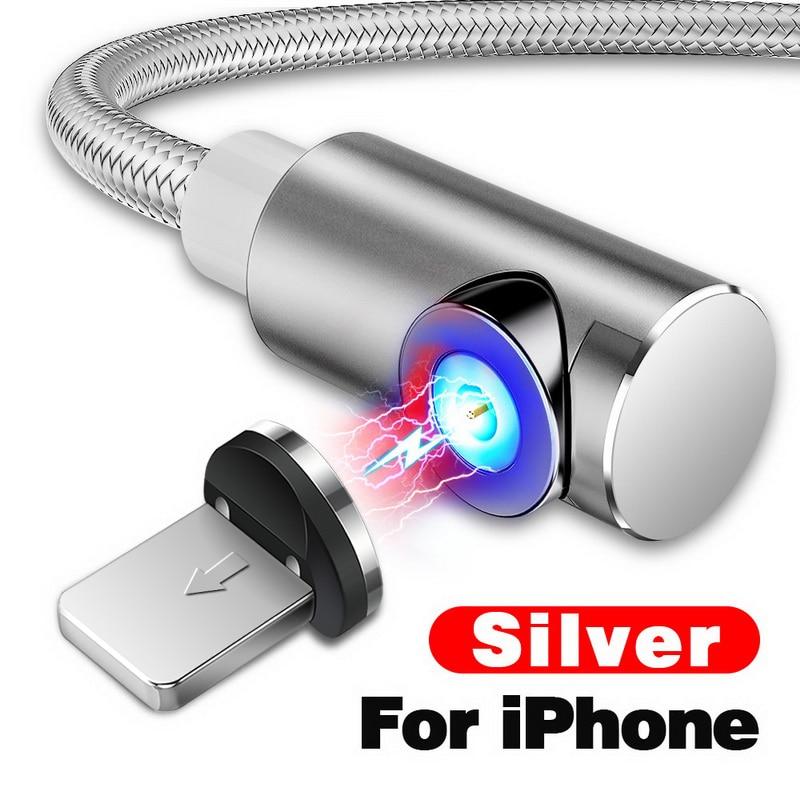 INIU 2 м Магнитный кабель Micro Тип usb C Зарядное устройство для зарядки для iPhone XS X XR 8 7 samsung S8 магнит Android телефонный кабель Шнур - Цвет: For iPhone Silver