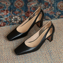 Shoes Women Square Heel High Pumps Square Toe Wedding Party Derss Shoes Genuine Leather Slip-on Classic Pumps Spring Shoes