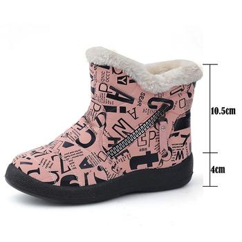 Buty damskie śniegowce botki damskie ciepłe pluszowe futerkowe buty damskie buty zimowe buty czarne botki buty damskie damskie tanie i dobre opinie LAKESHI CN (pochodzenie) PŁÓTNO ANKLE ZSZYWANE GEOMETRIC Płaskie z BUTY NA ŚNIEG Sztuczny puch okrągły nosek Zima