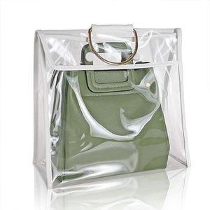 Mode clair sac anti-poussière portable clair femmes sac à main sac à main cache-poussière artisanat stockage sac avec fermeture à glissière poussière étanche à l'humidité