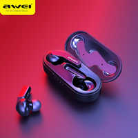 AWEI Update TWS 5.0 IPX4 Bluetooth True Wireless Earbuds Touch Control Noise Cancelling Volume Control Super Bass Sound With Mic