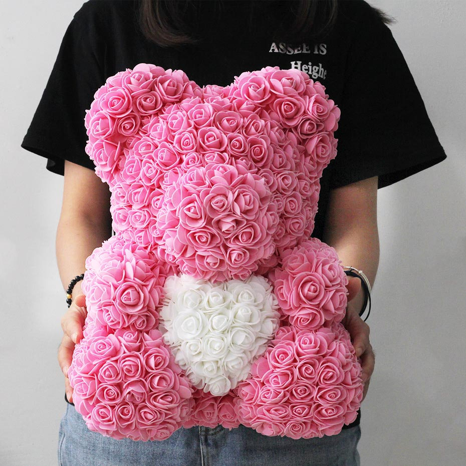 25cm 40cm Soap Foam Rose Bear Teddy Bear Pink Artificial Flower New Year Gifts For Women Valentine's Gift
