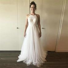 2020 New Beach Tulle Wedding Dresses Backless Halter Neck Open Back Bridal Gowns Vestidos De Novia robe de mariee
