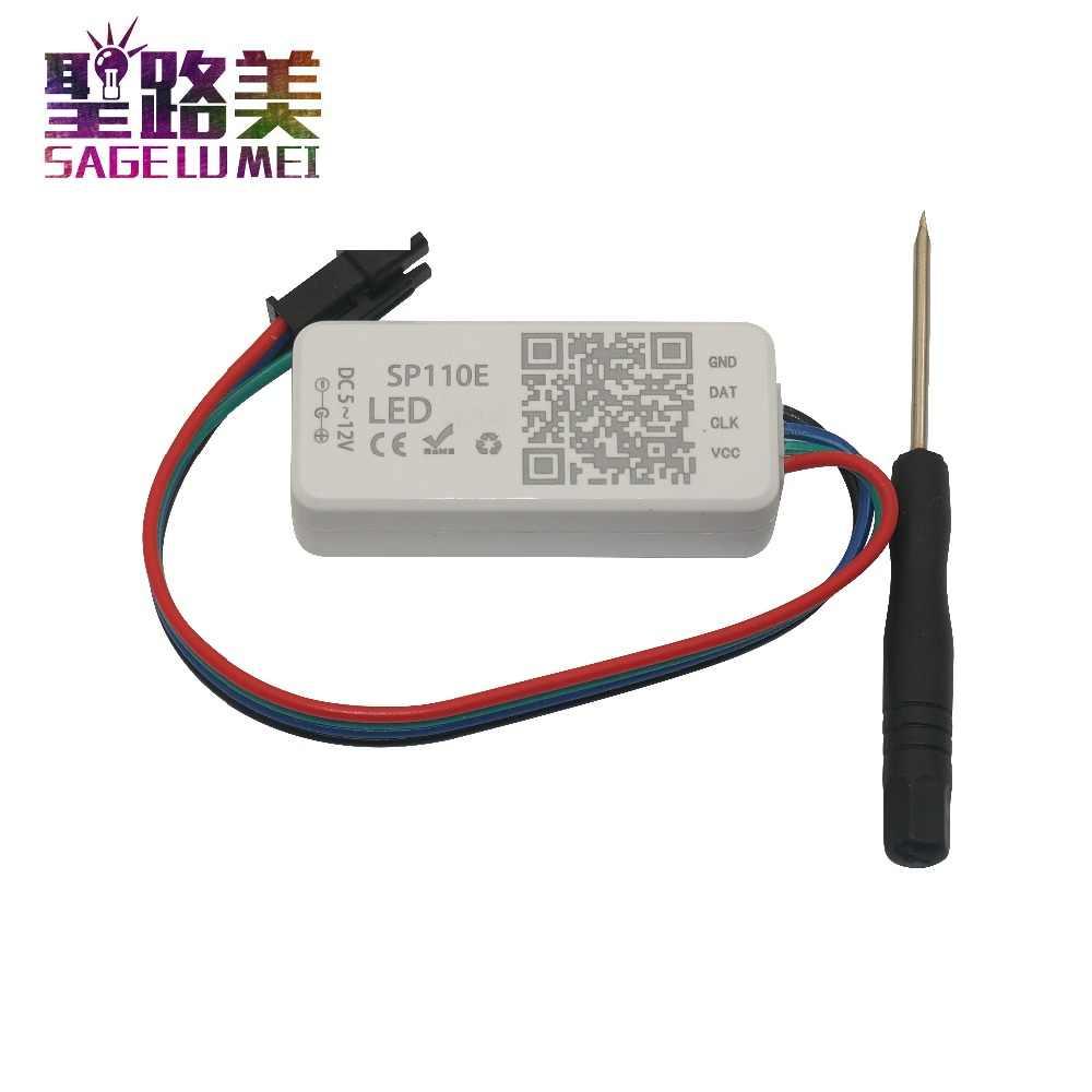DC5V-24V SP110E Bluetooth pikseli kontroler światła przez inteligentny aplikacja na telefon android ios do taśmy LED taśma oświetlająca WS2812 WS2811 SK6812
