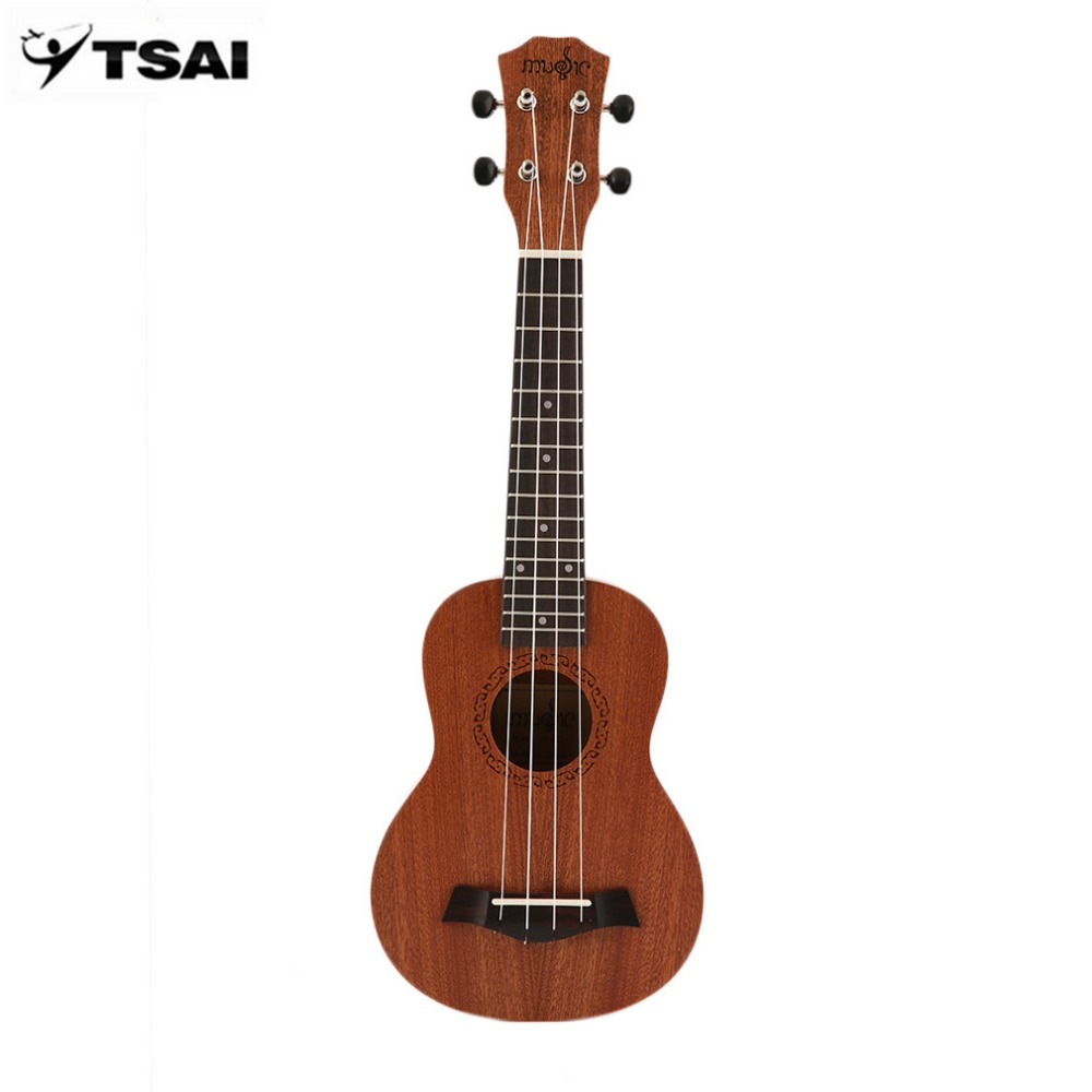 TSAI Electric Ukulele Guitar 21 Inch Soprano Acoustic 4 Strings Ukelele Guitarra Handcraft Wood White Guitarist Mahogany Plug-in
