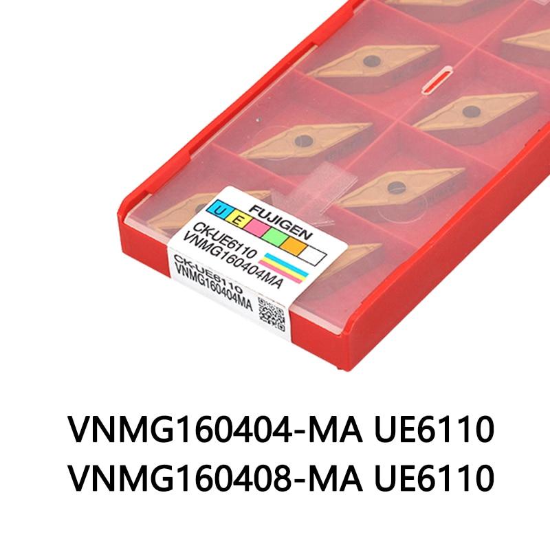 Твердосплавная вставка VNMG160404 MA VNMG160408 UE6110 станок с ЧПУ 10 шт. вставка для обработки стали токарный станок резак лезвие Токарный инструмент      АлиЭкспресс