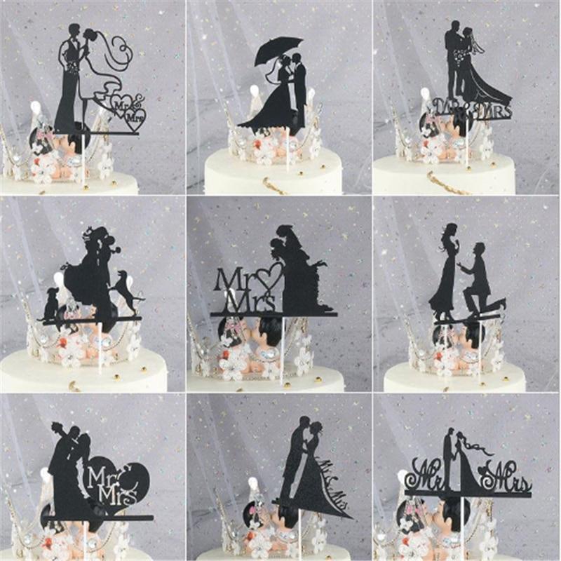 Wedding Decoration Mr & Mrs Cake Flags Love Heart Wedding Cake Topper Bride Groom  Party Cake Baking Decor Engagement Cake Flags