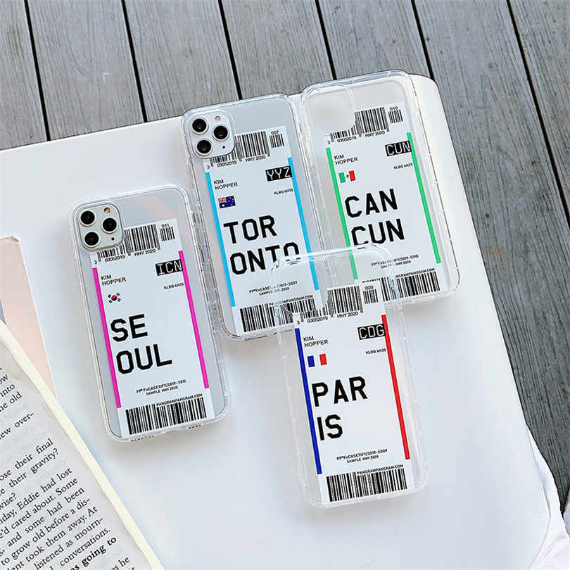 Nette Transparent Anti-herbst Luft tickets SEOUL CANCUN Für iphone 6 6S 7 8Plus iphone X XR MAX 11 pro max Fall Abdeckung Telefon Cas
