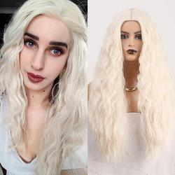 RONGDUOYI Long Platinum Blonde Synthetic Wig Machine Made Hear Resistant Hair Wigs for Black Women Water Wave Cosplay Blond Wig
