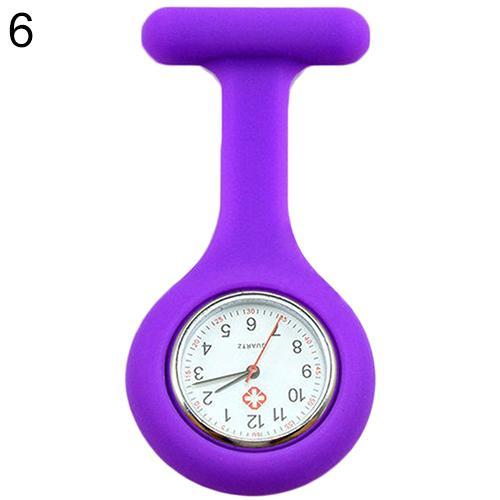 Модные повседневные женские часы Fob, милые силиконовые часы, часы для медсестры, брошь Fob, туника, кварцевые часы с механизмом, медицинские часы, reloj de b - Цвет: Фиолетовый