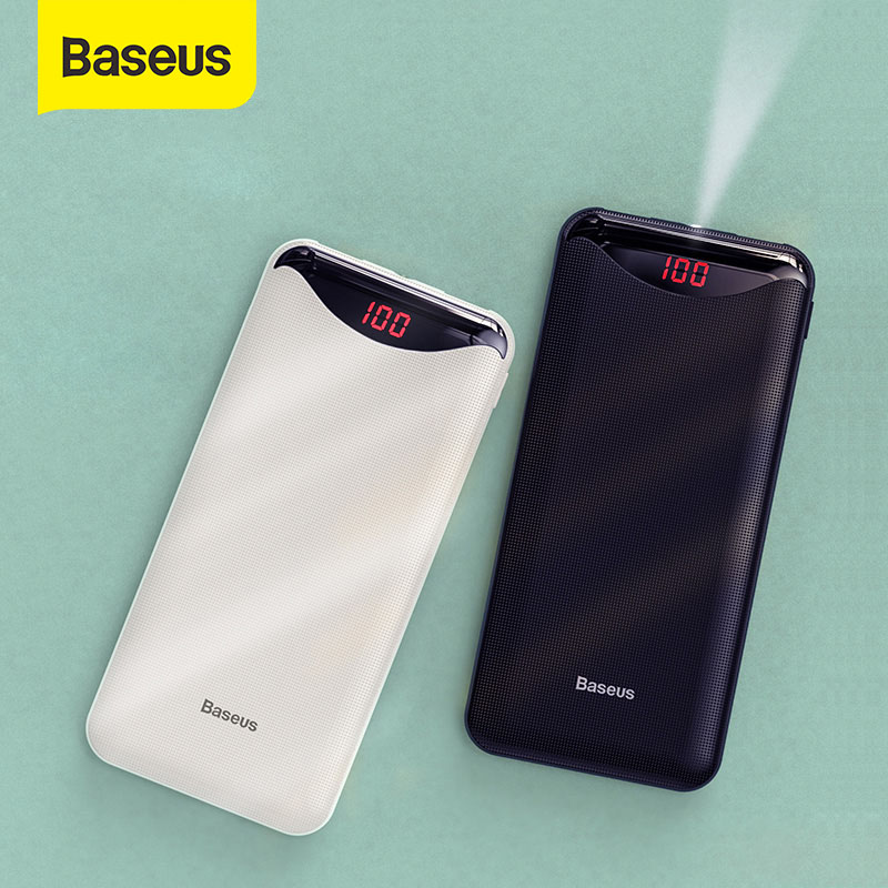Baseus 10000mah power bank with flashlight dual usb output powerbank portable external battery charger for phone