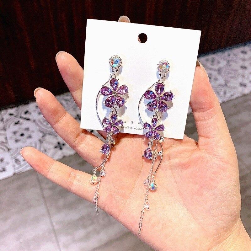 Korean Baroque purple Crystal Flower earrings Fashion chain bohemian drop  jewelry long big crystal dangle