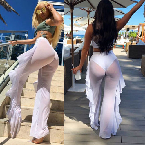 2020 Women Transparent Mesh Ruffle Beach Pants Swimwear Beach Cover Up Sheer Trouser Mujer High Waist Mesh Beach Pants