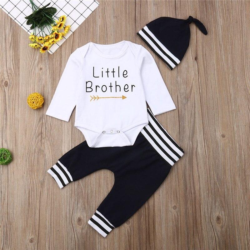 3Pcs Newborn Kid Baby Boys Romper Bodysuit Long Pants Hat Plaids Clothes Set