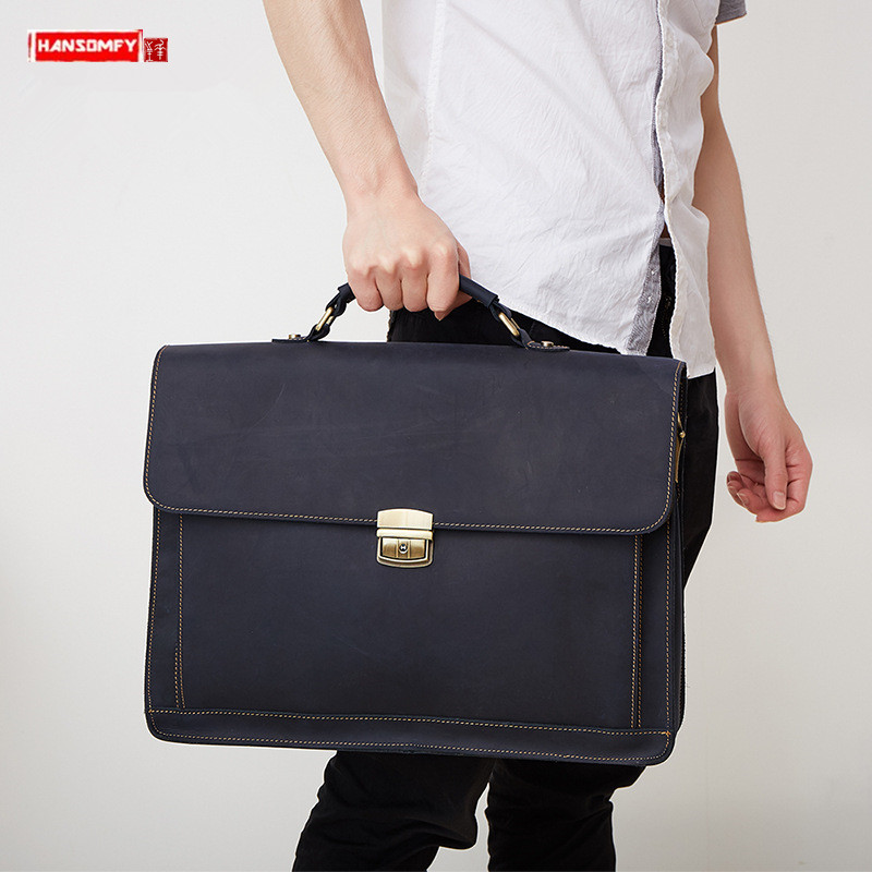 Genuine Leather Men's Handbags Men Portable Briefcase Business Retro Crazy Horse Leather 15.6-inch Computer Bag Male Travel Bags