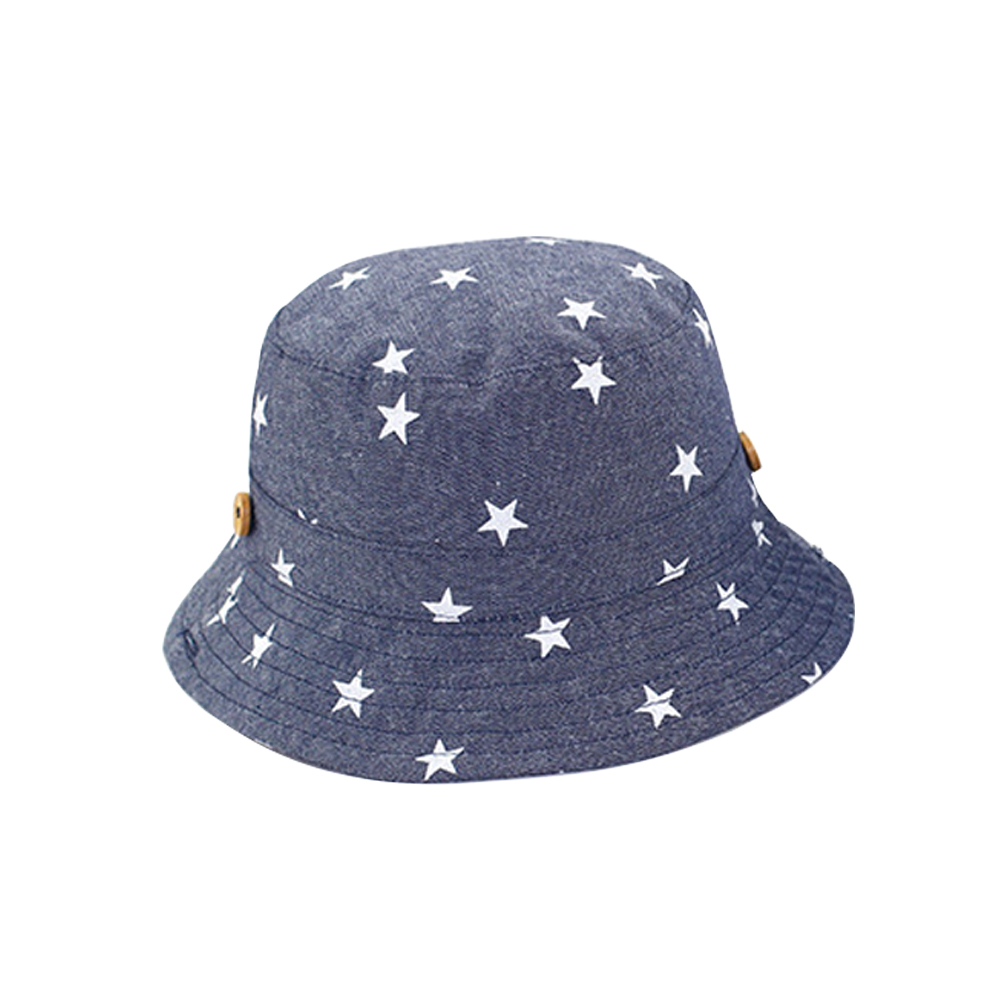 Bucket Hat Star Patterned Cap Sun Protection Hat Wide Brim Cotton Cap for Toddler Boys Girls Summer Wearing