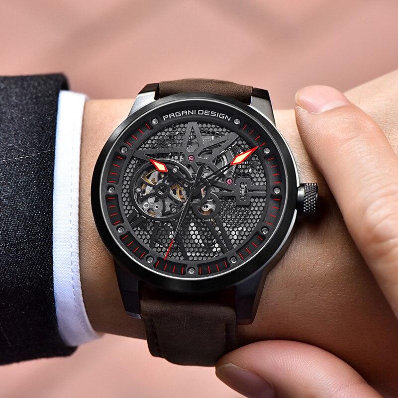 Moda de luxo marca pagani couro tourbillon relógio automático relógio de pulso masculino relógios de aço mecânico relogio masculino + caixa