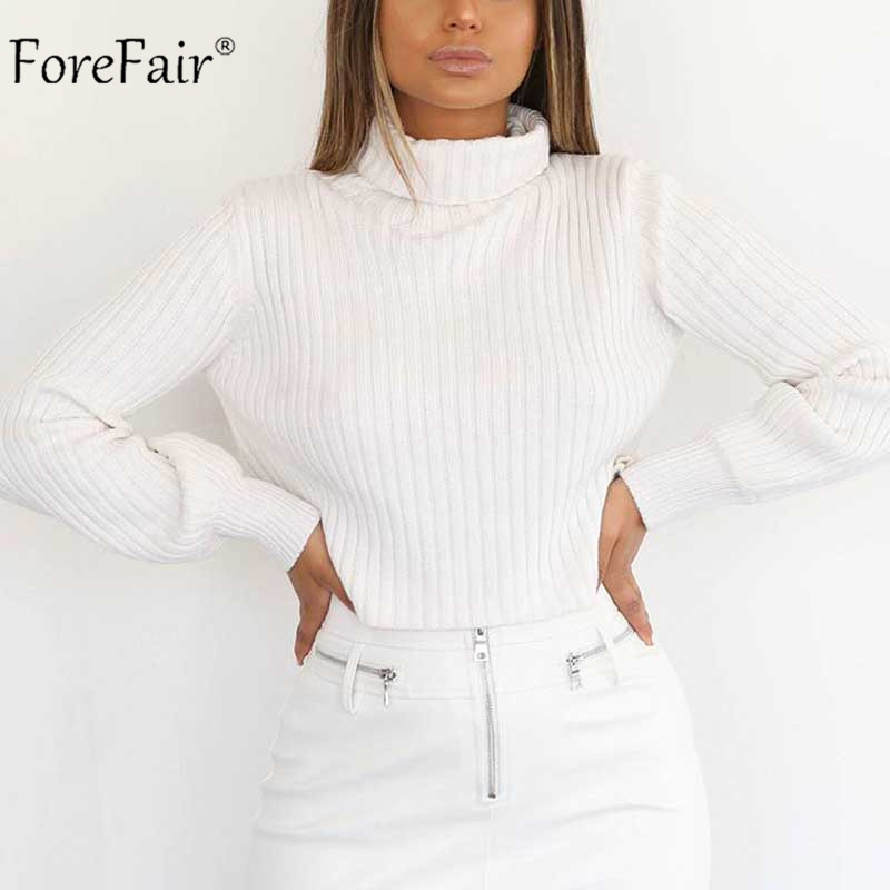 Forefair Sexy Turtleneck Sweaters Women Winter Knitwear 2019 Long Sleeve Elegant Slim Knitted Solid Yellow White Crop Sweaters
