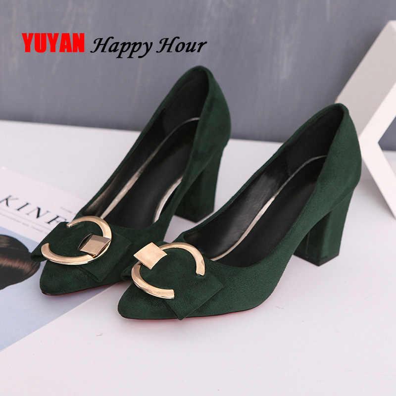 Seksi yüksek topuklu kadın pompaları Pointe ayakkabı ilkbahar yaz kadın kare topuk ayakkabı kadın ayakkabı yüksek topuk 7.5cm A649