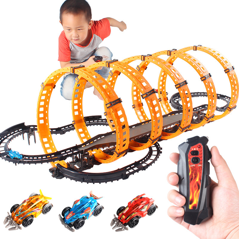 Remote High Speed Track Racing Return-air Track Kids Educational Toy Birthday Gift Children Race Track Competition Cars Toy Set.