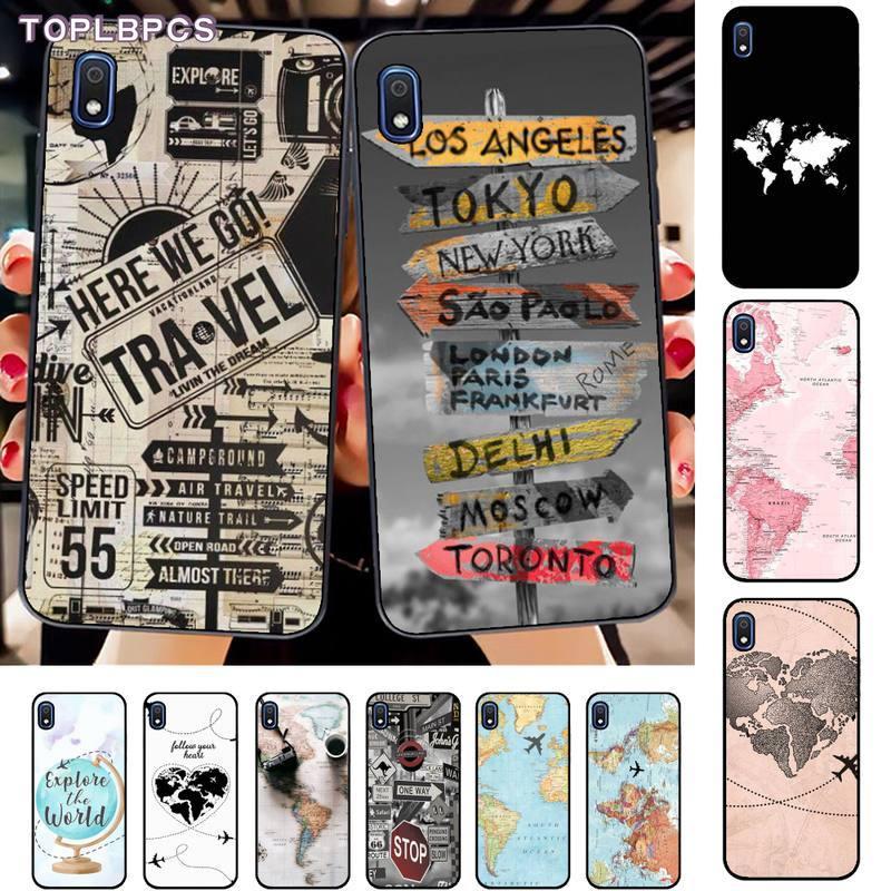 TOPLBPCS Welt Karte Reise Benutzerdefinierte Weichen Telefon Fall für Samsung A10 20s 71 51 10 s 20 30 40 50 70 80 91 A30s 11 31