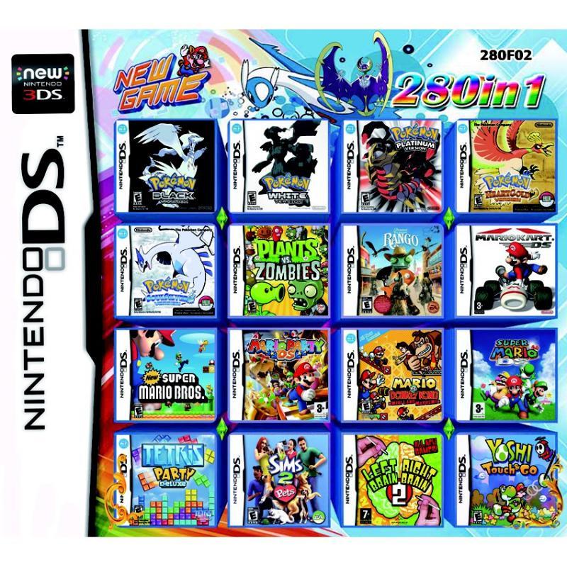 280 В 1 видеоигра Pokemon Super Mario Bros Donkey Kong Sims 2 картридж игровая консоль Multi Cart DS DSi 3DS XL детские игрушки