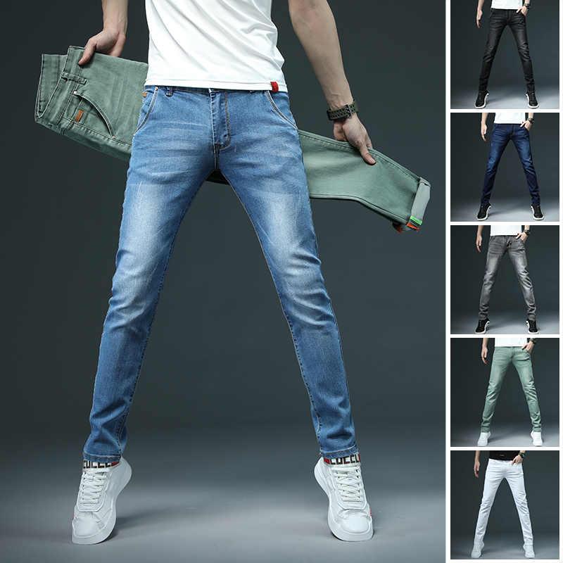 7 farbe Männer Stretch Dünne Jeans Mode Lässig Slim Fit Denim Hose Männlich Grau Schwarz Khaki Weiß Hosen Männliche Marke