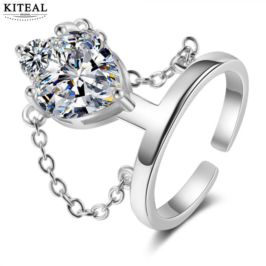KITEAL Mode Neue Marke Design Luxurio silber farbe größe Resizeable Weibliche Freund ringe für frauen rund opal sommer schmuck