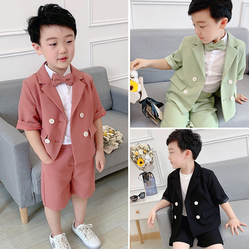 Summer Children Korean Short Sleeve Suit Set Boys Double Breasted Blazer Shorts Clothing Set Kids Party Performance Costume