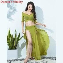 뜨거운 판매 여성 팀 톱 섹시 스플릿 스커트 2 조각 밸리 댄스 세트 동양 인도 댄서 공연 쇼 의류 무대 착용