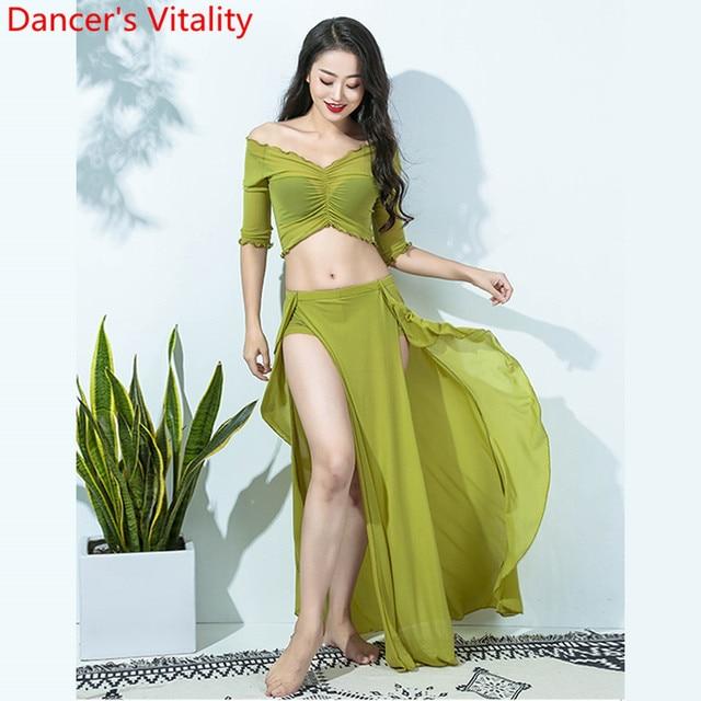 Hot Sales Vrouwen Team Top Sexy Split Rok 2 Stuk Buikdans Set Oosterse Indian Dancer Prestaties Tonen Kleding Podium dragen