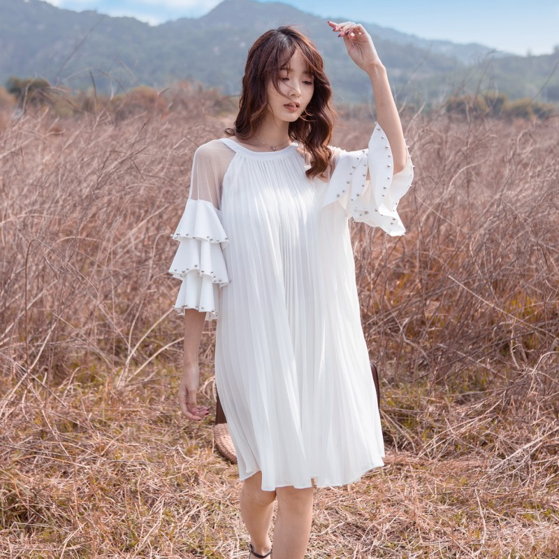 2019 Summer New Style Trend WOMEN'S Dress Short Sleeve Palace Style Flounced Loose-Fit Big Skirt