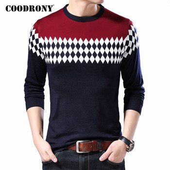 COODRONY Sweater Men Spring Autumn Casual Knitwear Pullover Shirt Men Clothes Streetwear Fashion Argyle O-Neck Pull Homme C1078 coodrony brand wool sweater men streetwear fashion striped pull homme spring autumn casual knitwear v neck pullover shirts c1089