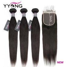 Chiusura 5x5 dei capelli di Yyong con i pacchi fasci diritti peruviani 14-30 pollici con chiusura chiusura del merletto dei capelli umani di Remy con i pacchi