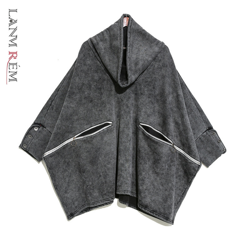 LANMREM Can Ship Tide 2020 Spring Clothes Turtleneck Pullover Oversize Sweatshirt With Velvet Fashioin New Loose Bat Tops YH865