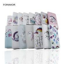 Luxury Design Women Long Wallet Cartoon Unicorn Printed Zipper Purses Female Phone Bags Passport Card Holders